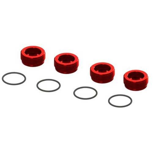 Arrma Aluminum Front Hub Nut Red (4) O-Rings ARA320467
