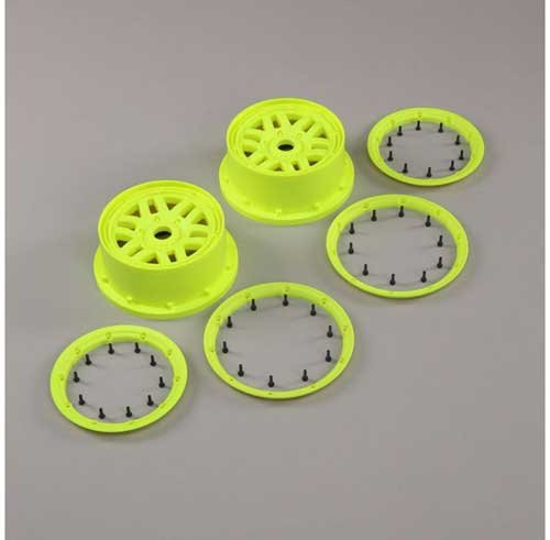 Wheel & Beadlock Set, Flo Yellow (2): 5ive-T 2.0