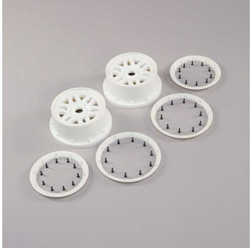 Wheel & Beadlock Set, White (2): 5ive-T 2.0 (LOS45026)