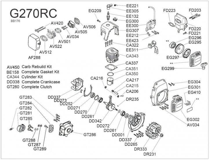 Zenoah G270 Explosionszeichnung